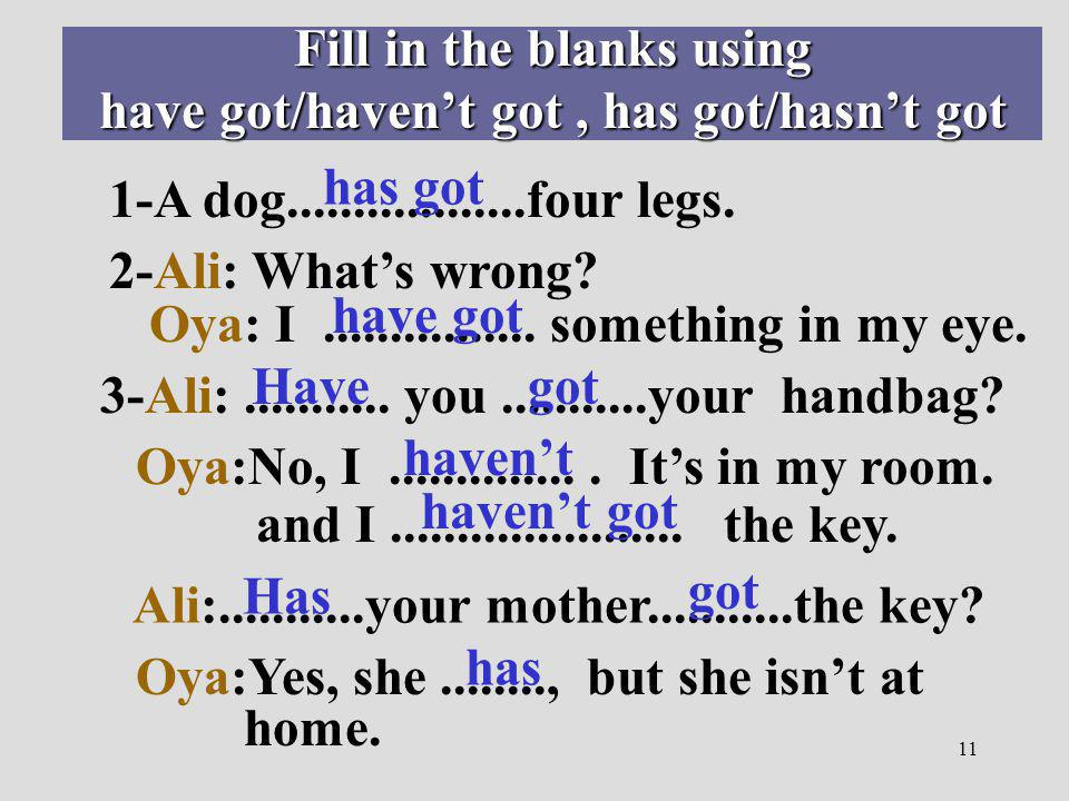 11 Fill in the blanks using have got/havent got, has got/hasnt got 1-A dog..................four legs. 2-Ali: Whats wrong? Oya: I................ some