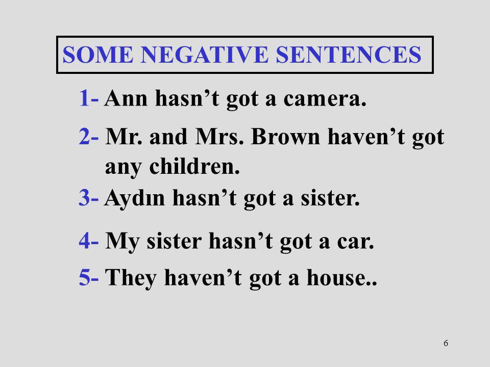 6 SOME NEGATIVE SENTENCES 1- Ann hasnt got a camera. 2- Mr. and Mrs. Brown havent got any children. 3- Aydın hasnt got a sister. 4- My sister hasnt go