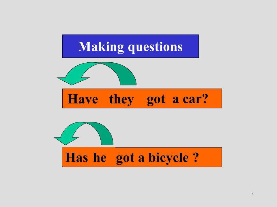 7 Making questions They have got a car? Havethey He has got a bicycle ? Hashe
