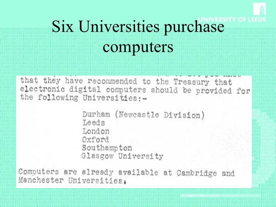 Six Universities purchase computers