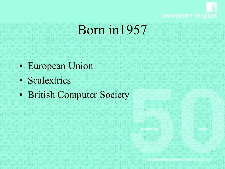 Born in1957 European Union Scalextrics British Computer Society