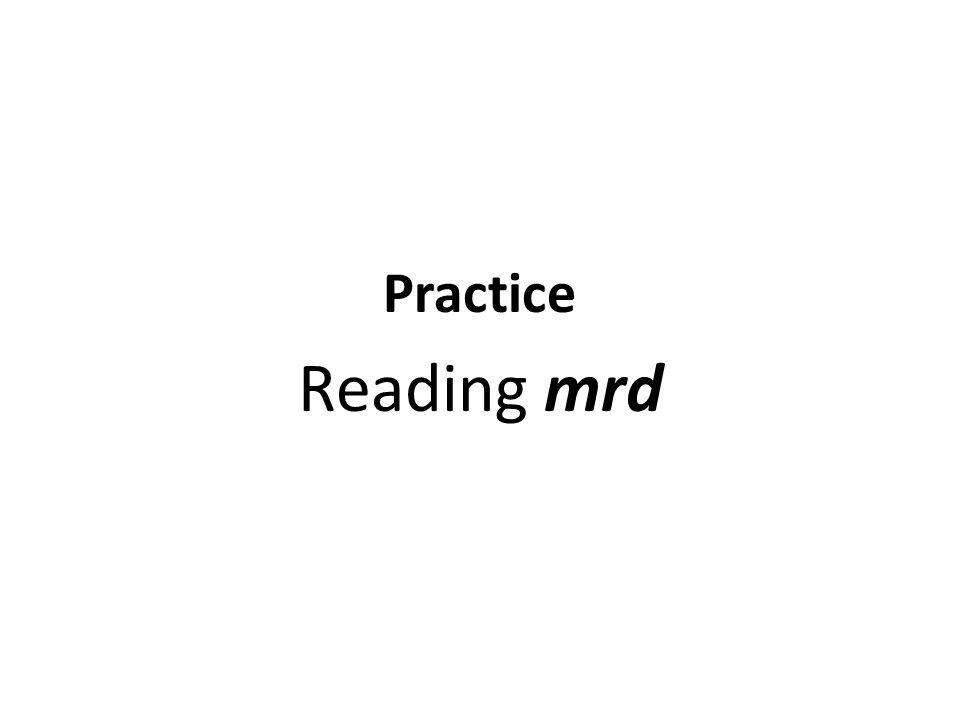 Practice Reading mrd