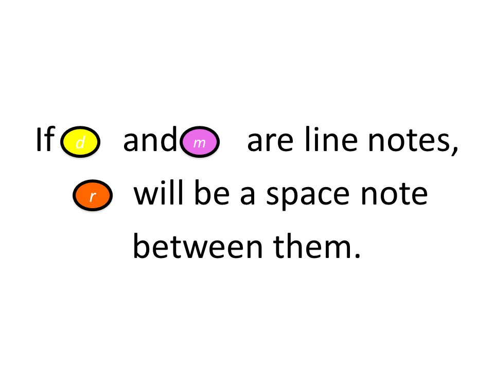 If and are line notes, will be a space note between them. m m d d r r