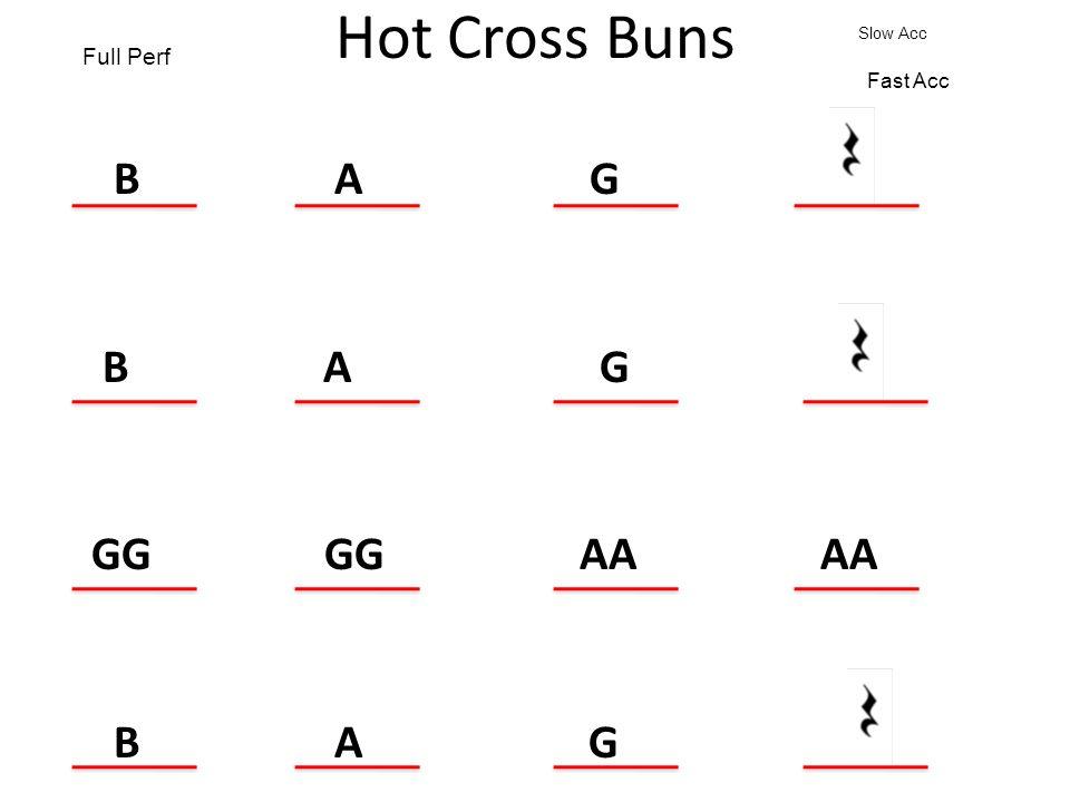 Hot Cross Buns B A G GG GG AA AA B A G. Full Perf Slow Acc Fast Acc