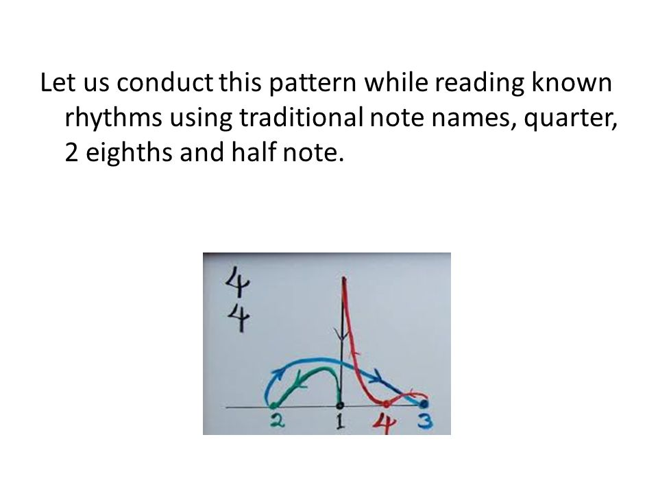 Let us conduct this pattern while reading known rhythms using traditional note names, quarter, 2 eighths and half note.