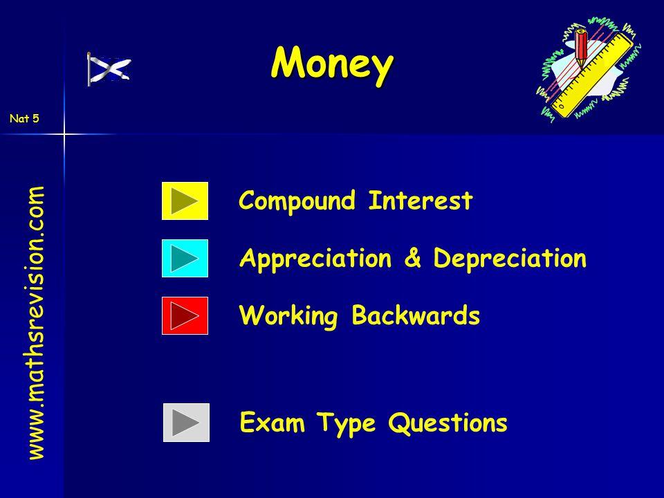 Nat 5 Money www.mathsrevision.com Compound Interest Appreciation & Depreciation Working Backwards Exam Type Questions