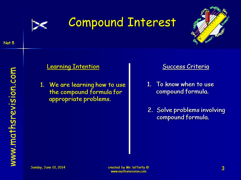 Nat 5 Learning Intention Success Criteria 1.To know when to use compound formula. 1.We are learning how to use the compound formula for appropriate pr