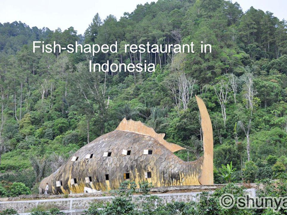 Fish-shaped restaurant in Indonesia