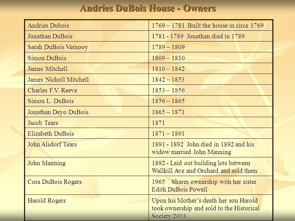 Andries DuBois House - Owners Andries Dubois 1769 – 1781 Built the house in circa 1769 Jonathan DuBois 1781 - 1789 Jonathan died in 1789 Sarah DuBois Vernooy 1789 – 1809 Simon DuBois 1809 – 1810 James Mitchell 1810 – 1842 James Nicholl Mitchell 1842 – 1853 Charles F.V.