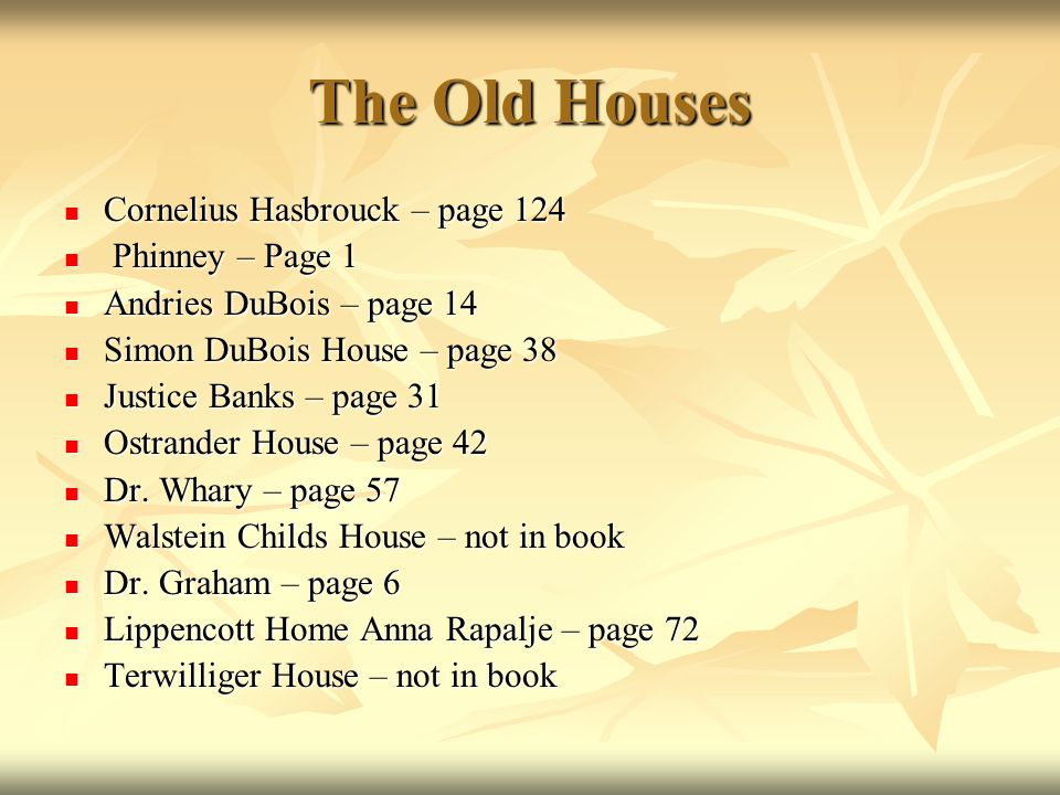 The Old Houses Cornelius Hasbrouck – page 124 Cornelius Hasbrouck – page 124 Phinney – Page 1 Phinney – Page 1 Andries DuBois – page 14 Andries DuBois – page 14 Simon DuBois House – page 38 Simon DuBois House – page 38 Justice Banks – page 31 Justice Banks – page 31 Ostrander House – page 42 Ostrander House – page 42 Dr.