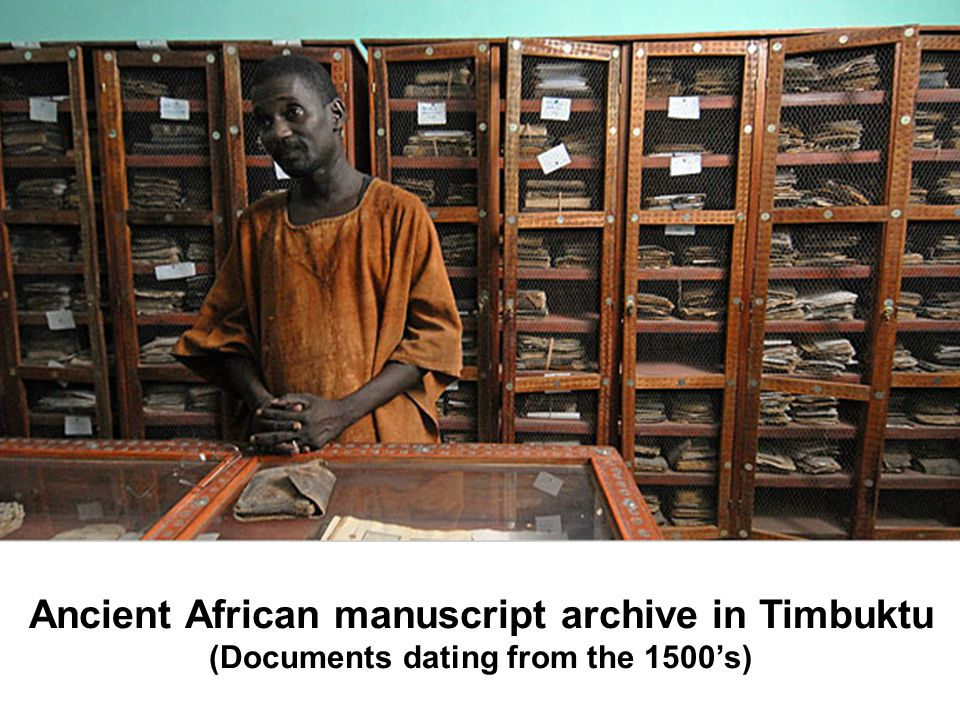 Ancient African manuscript archive in Timbuktu (Documents dating from the 1500s)