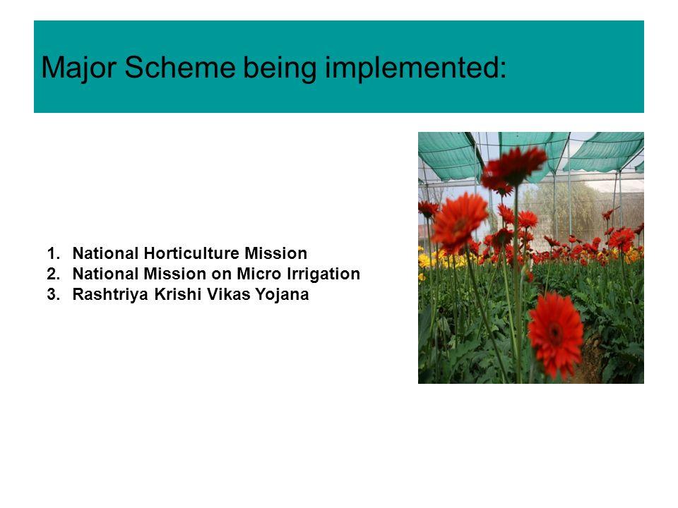 Major Scheme being implemented: 1.National Horticulture Mission 2.National Mission on Micro Irrigation 3.Rashtriya Krishi Vikas Yojana