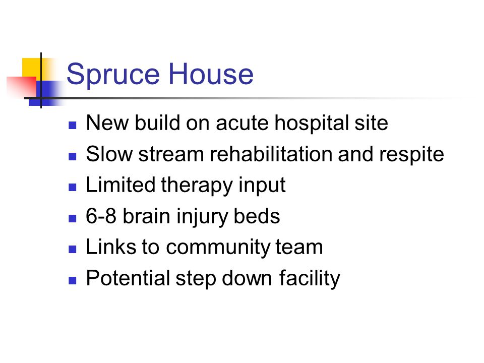 Spruce House New build on acute hospital site Slow stream rehabilitation and respite Limited therapy input 6-8 brain injury beds Links to community team Potential step down facility