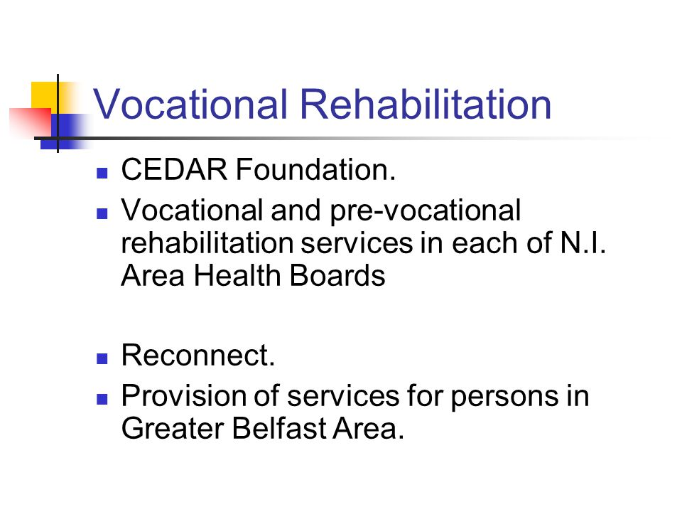 Vocational Rehabilitation CEDAR Foundation. Vocational and pre-vocational rehabilitation services in each of N.I. Area Health Boards Reconnect. Provis
