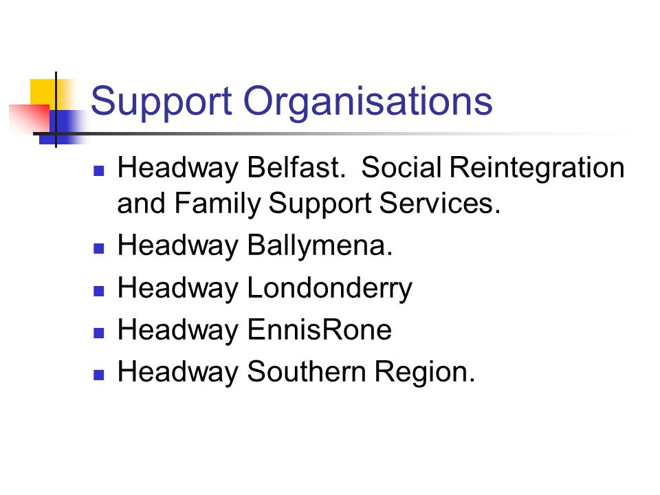 Support Organisations Headway Belfast. Social Reintegration and Family Support Services.