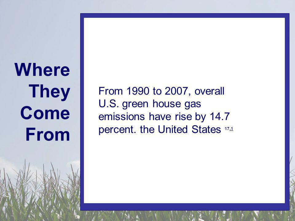 Where They Come From In 2008, a white paper from the Chinese government admitted Chinas contributions of green house gases had exceeded those of the United States 17.1.1 From 1990 to 2007, overall U.S.