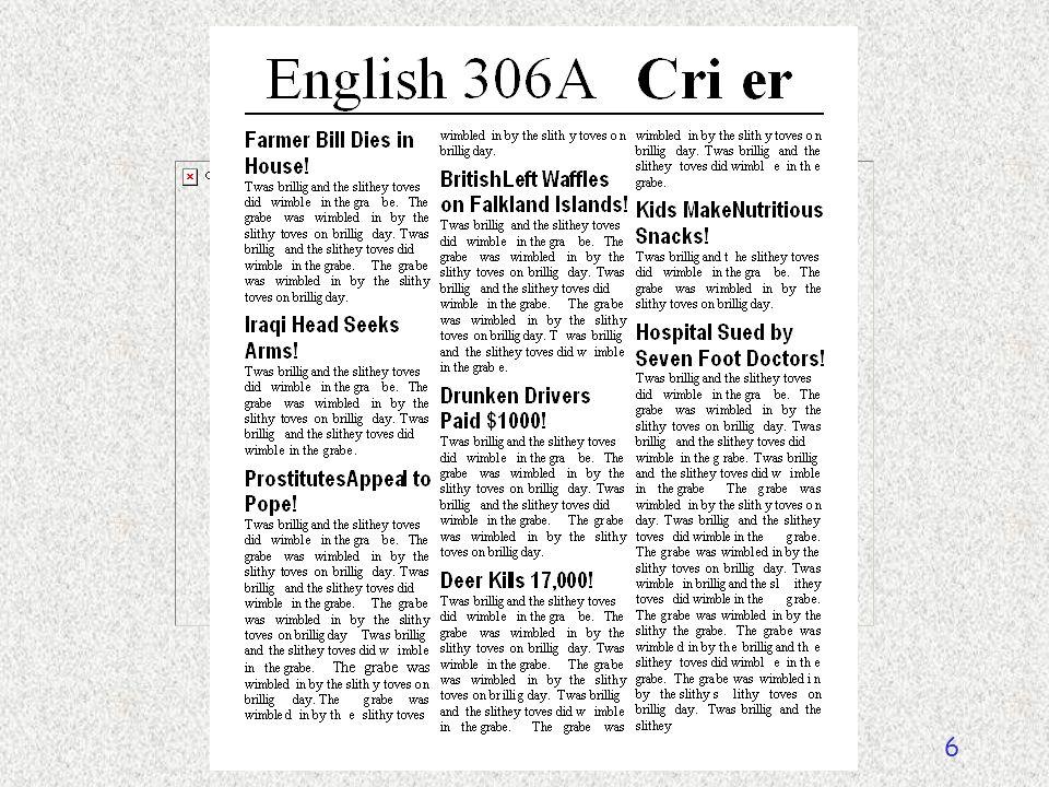 English 306A; Harris 6