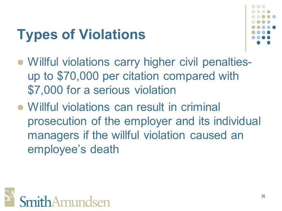 36 Types of Violations Willful violations carry higher civil penalties- up to $70,000 per citation compared with $7,000 for a serious violation Willful violations can result in criminal prosecution of the employer and its individual managers if the willful violation caused an employees death
