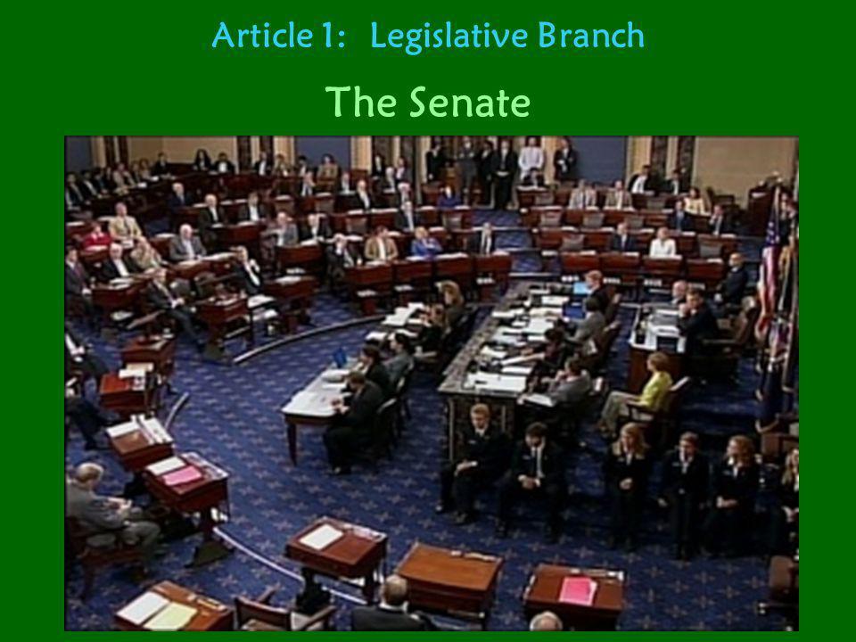 Article 1: Legislative Branch The Senate Total number of members: 100 Number of representatives per state: 2 Term in office (how long): 6 years