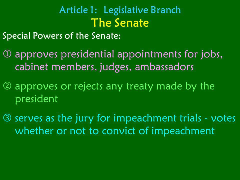 Article 1: Legislative Branch The Senate Special Powers of the Senate: approves presidential appointments for jobs, cabinet members, judges, ambassado