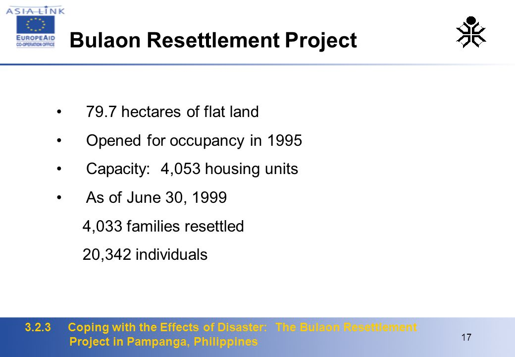 3.2.3 Coping with the Effects of Disaster: The Bulaon Resettlement Project in Pampanga, Philippines 17 79.7 hectares of flat land Opened for occupancy in 1995 Capacity: 4,053 housing units As of June 30, 1999 4,033 families resettled 20,342 individuals Bulaon Resettlement Project