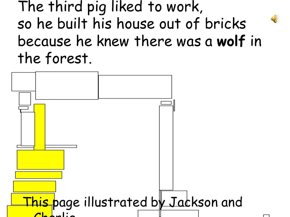 The second pig built a house of sticks. He didnt like working too much either, so he built it quickly. This page illustrated by Bertha and Jarrod.