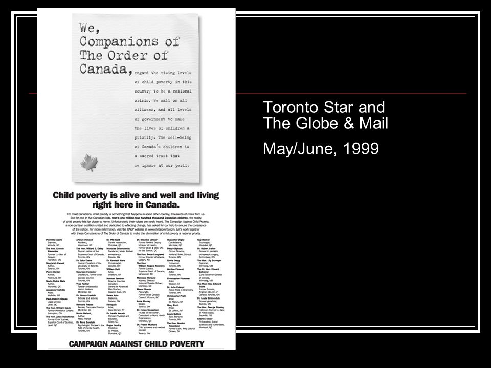 Toronto Star and The Globe & Mail May/June, 1999