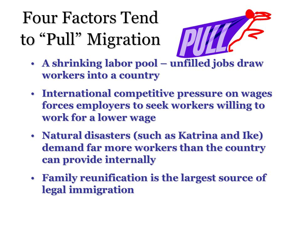 Four Factors Tend to Pull Migration A shrinking labor pool – unfilled jobs draw workers into a countryA shrinking labor pool – unfilled jobs draw workers into a country International competitive pressure on wages forces employers to seek workers willing to work for a lower wageInternational competitive pressure on wages forces employers to seek workers willing to work for a lower wage Natural disasters (such as Katrina and Ike) demand far more workers than the country can provide internallyNatural disasters (such as Katrina and Ike) demand far more workers than the country can provide internally Family reunification is the largest source of legal immigrationFamily reunification is the largest source of legal immigration