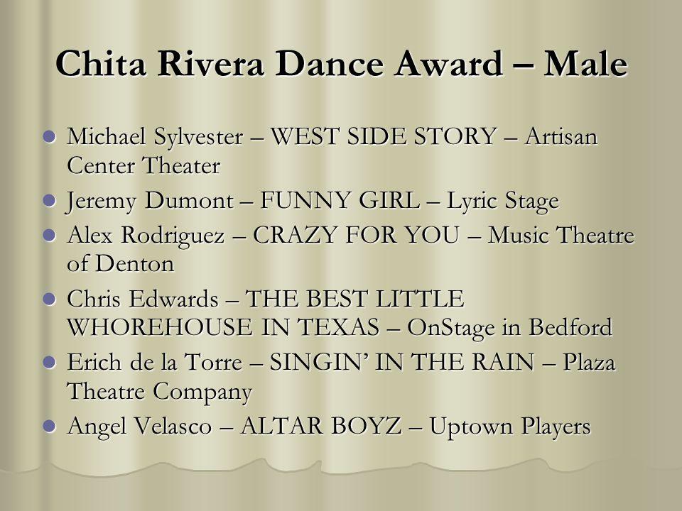 Chita Rivera Dance Award – Male Michael Sylvester – WEST SIDE STORY – Artisan Center Theater Michael Sylvester – WEST SIDE STORY – Artisan Center Thea
