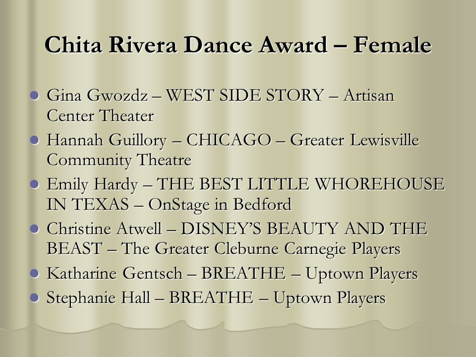 Chita Rivera Dance Award – Female Gina Gwozdz – WEST SIDE STORY – Artisan Center Theater Gina Gwozdz – WEST SIDE STORY – Artisan Center Theater Hannah Guillory – CHICAGO – Greater Lewisville Community Theatre Hannah Guillory – CHICAGO – Greater Lewisville Community Theatre Emily Hardy – THE BEST LITTLE WHOREHOUSE IN TEXAS – OnStage in Bedford Emily Hardy – THE BEST LITTLE WHOREHOUSE IN TEXAS – OnStage in Bedford Christine Atwell – DISNEYS BEAUTY AND THE BEAST – The Greater Cleburne Carnegie Players Christine Atwell – DISNEYS BEAUTY AND THE BEAST – The Greater Cleburne Carnegie Players Katharine Gentsch – BREATHE – Uptown Players Katharine Gentsch – BREATHE – Uptown Players Stephanie Hall – BREATHE – Uptown Players Stephanie Hall – BREATHE – Uptown Players