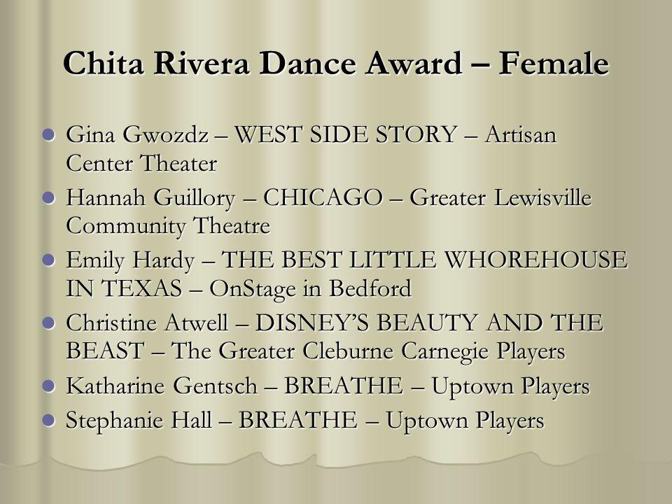 Chita Rivera Dance Award – Female Gina Gwozdz – WEST SIDE STORY – Artisan Center Theater Gina Gwozdz – WEST SIDE STORY – Artisan Center Theater Hannah