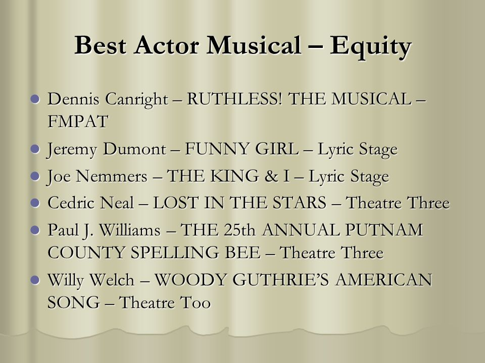Best Actor Musical – Equity Dennis Canright – RUTHLESS! THE MUSICAL – FMPAT Dennis Canright – RUTHLESS! THE MUSICAL – FMPAT Jeremy Dumont – FUNNY GIRL