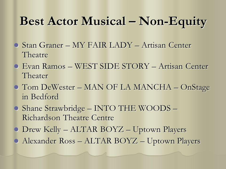 Best Actor Musical – Non-Equity Stan Graner – MY FAIR LADY – Artisan Center Theatre Stan Graner – MY FAIR LADY – Artisan Center Theatre Evan Ramos – W
