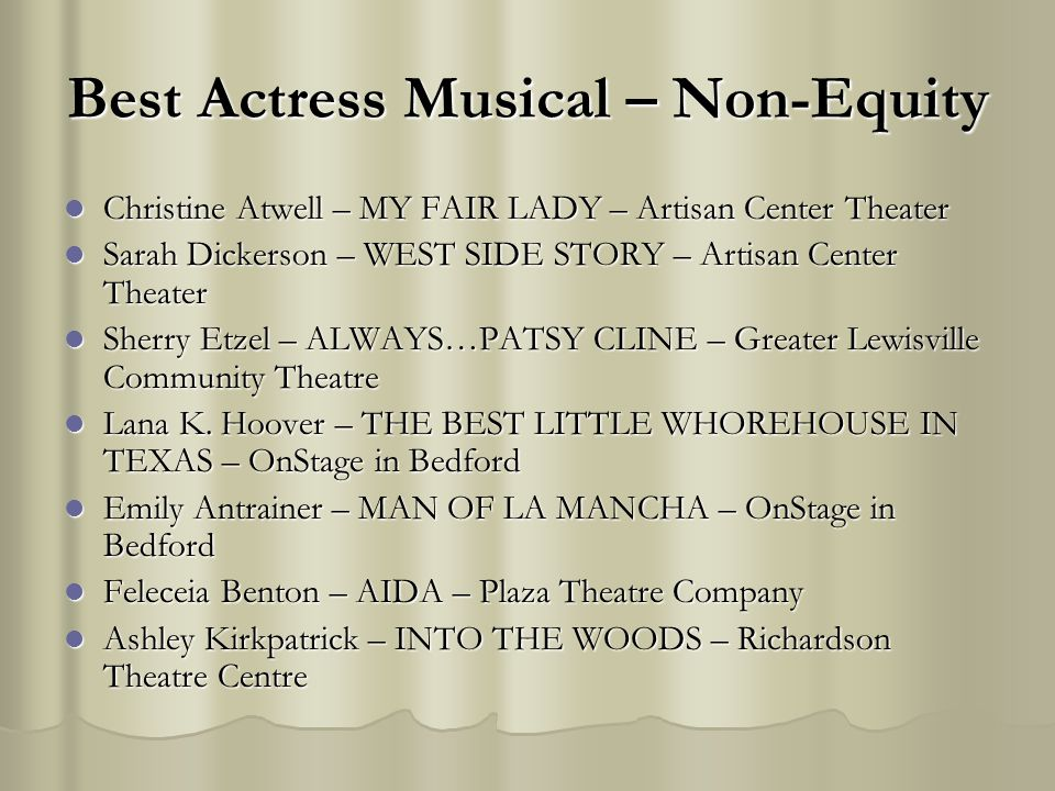 Best Actress Musical – Non-Equity Christine Atwell – MY FAIR LADY – Artisan Center Theater Christine Atwell – MY FAIR LADY – Artisan Center Theater Sa