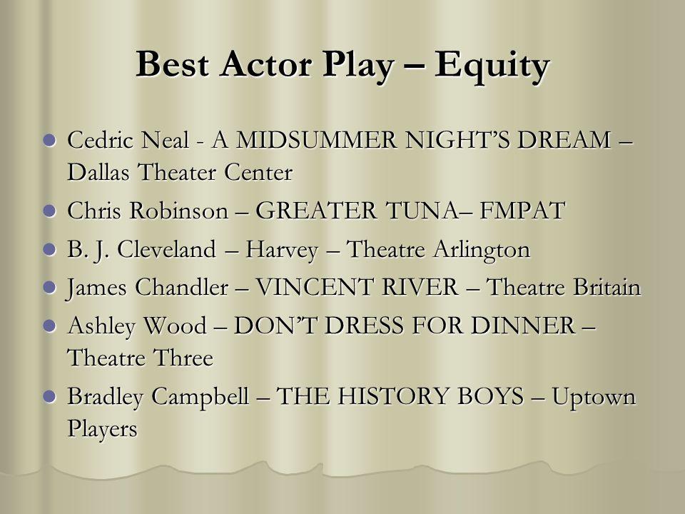Best Actor Play – Equity Cedric Neal - A MIDSUMMER NIGHTS DREAM – Dallas Theater Center Cedric Neal - A MIDSUMMER NIGHTS DREAM – Dallas Theater Center