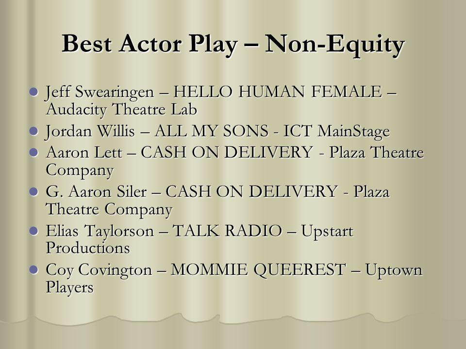 Best Actor Play – Non-Equity Jeff Swearingen – HELLO HUMAN FEMALE – Audacity Theatre Lab Jeff Swearingen – HELLO HUMAN FEMALE – Audacity Theatre Lab J
