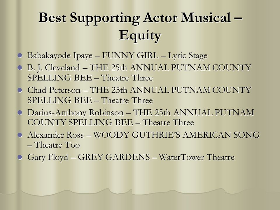 Best Supporting Actor Musical – Equity Babakayode Ipaye – FUNNY GIRL – Lyric Stage Babakayode Ipaye – FUNNY GIRL – Lyric Stage B. J. Cleveland – THE 2