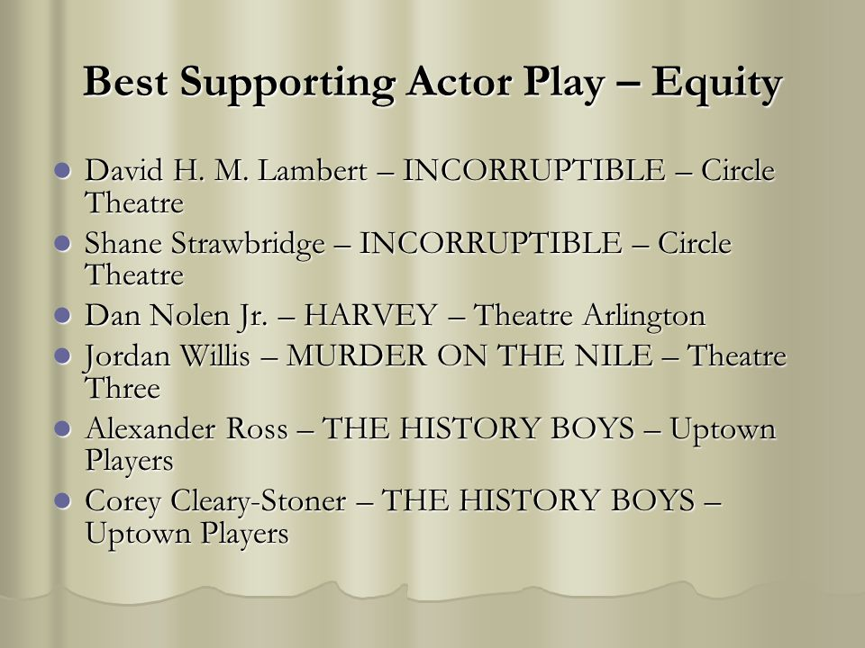 Best Supporting Actor Play – Equity David H. M. Lambert – INCORRUPTIBLE – Circle Theatre David H. M. Lambert – INCORRUPTIBLE – Circle Theatre Shane St
