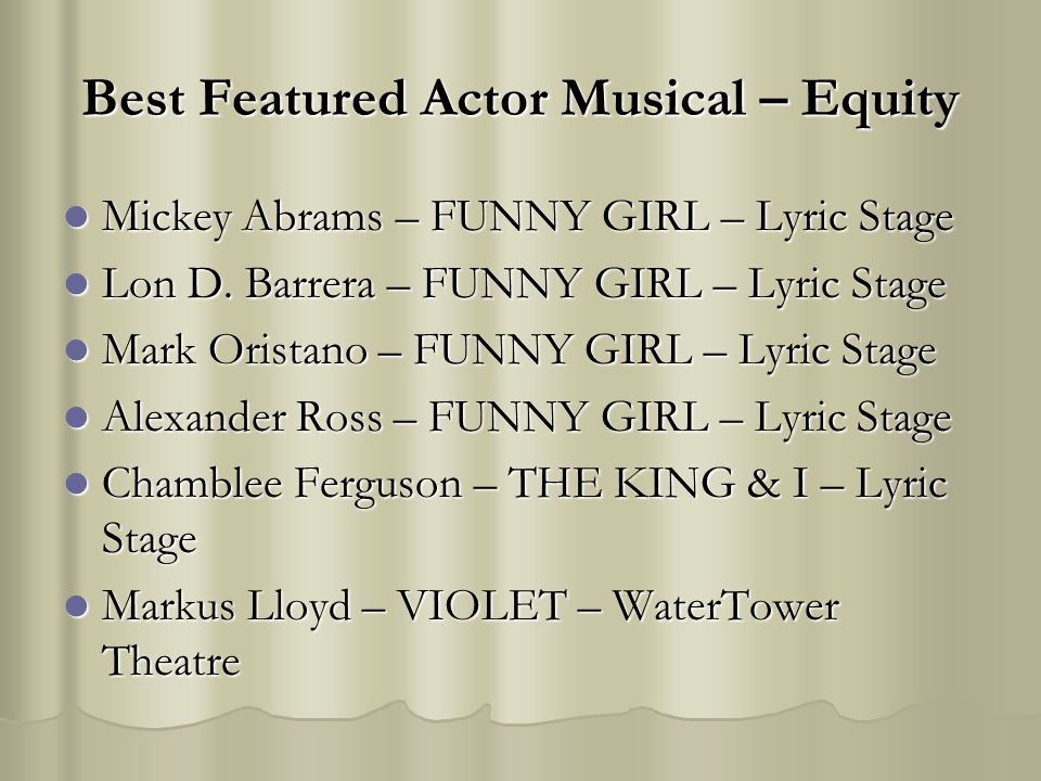 Best Featured Actor Musical – Equity Mickey Abrams – FUNNY GIRL – Lyric Stage Mickey Abrams – FUNNY GIRL – Lyric Stage Lon D. Barrera – FUNNY GIRL – L