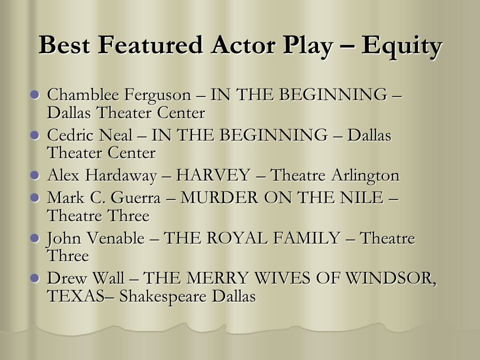Best Featured Actor Play – Equity Chamblee Ferguson – IN THE BEGINNING – Dallas Theater Center Chamblee Ferguson – IN THE BEGINNING – Dallas Theater C