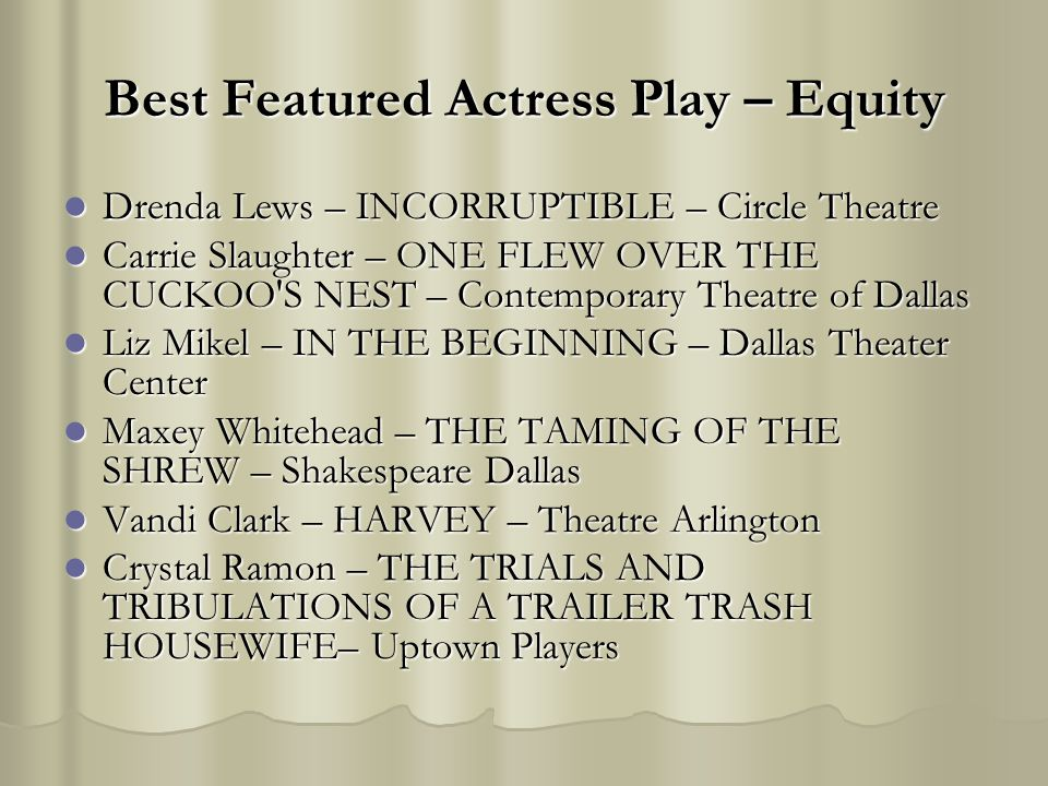 Best Featured Actress Play – Equity Drenda Lews – INCORRUPTIBLE – Circle Theatre Drenda Lews – INCORRUPTIBLE – Circle Theatre Carrie Slaughter – ONE F