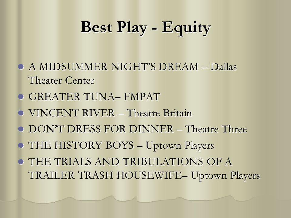 Best Play - Equity A MIDSUMMER NIGHTS DREAM – Dallas Theater Center A MIDSUMMER NIGHTS DREAM – Dallas Theater Center GREATER TUNA– FMPAT GREATER TUNA–