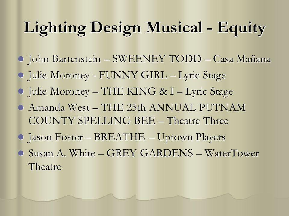 Lighting Design Musical - Equity John Bartenstein – SWEENEY TODD – Casa Mañana John Bartenstein – SWEENEY TODD – Casa Mañana Julie Moroney - FUNNY GIR