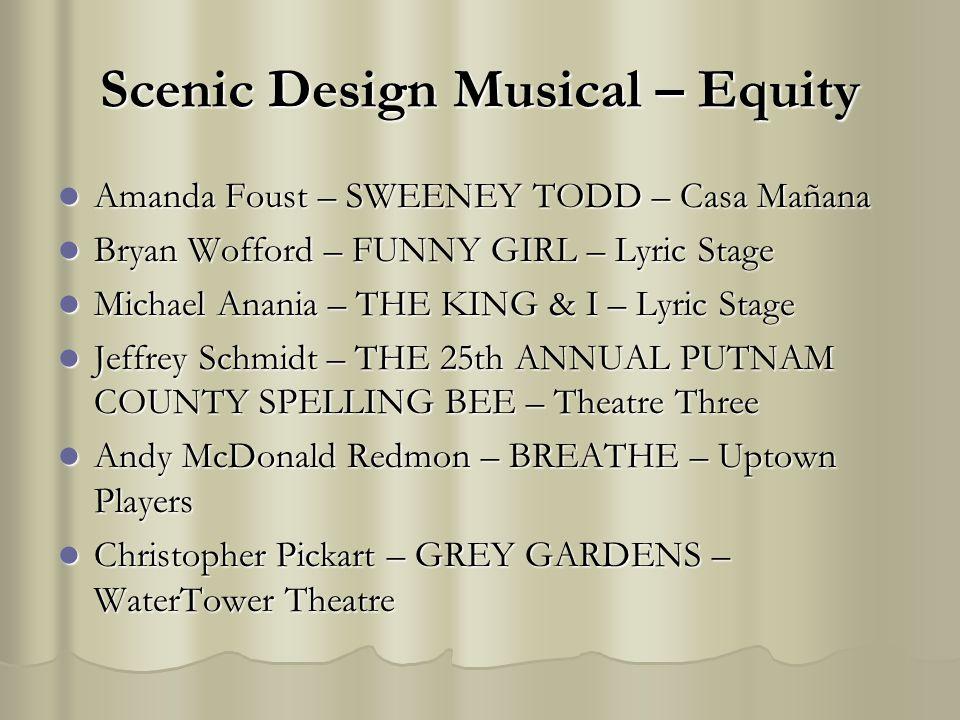 Scenic Design Musical – Equity Amanda Foust – SWEENEY TODD – Casa Mañana Amanda Foust – SWEENEY TODD – Casa Mañana Bryan Wofford – FUNNY GIRL – Lyric