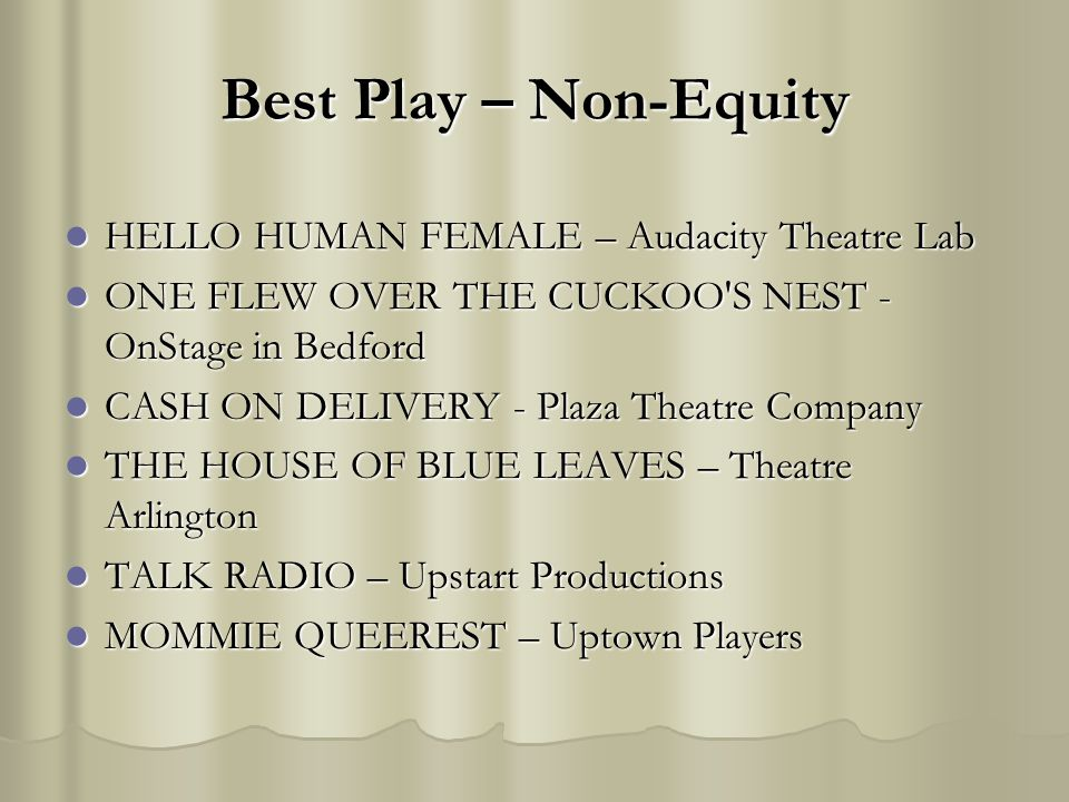 Best Play – Non-Equity HELLO HUMAN FEMALE – Audacity Theatre Lab HELLO HUMAN FEMALE – Audacity Theatre Lab ONE FLEW OVER THE CUCKOO'S NEST - OnStage i