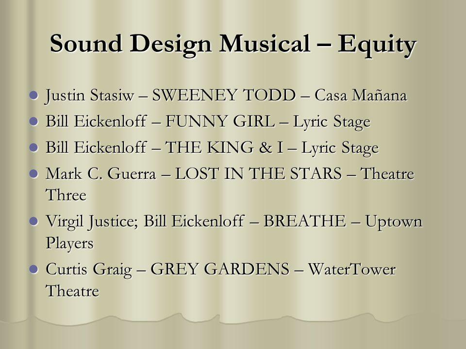 Sound Design Musical – Equity Justin Stasiw – SWEENEY TODD – Casa Mañana Justin Stasiw – SWEENEY TODD – Casa Mañana Bill Eickenloff – FUNNY GIRL – Lyric Stage Bill Eickenloff – FUNNY GIRL – Lyric Stage Bill Eickenloff – THE KING & I – Lyric Stage Bill Eickenloff – THE KING & I – Lyric Stage Mark C.