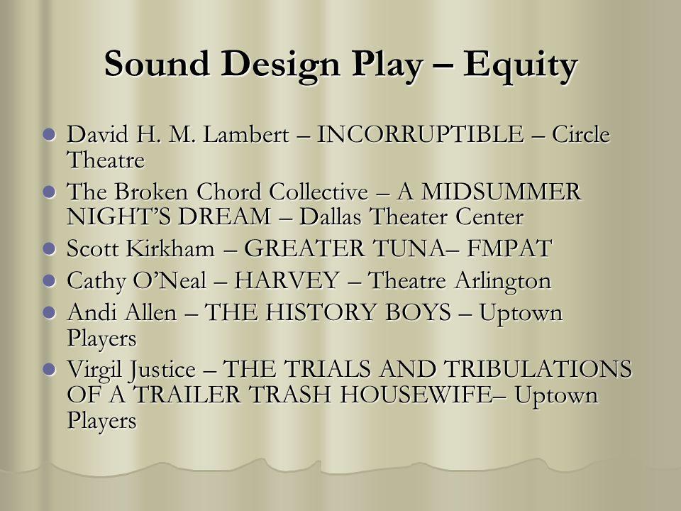 Sound Design Play – Equity David H. M. Lambert – INCORRUPTIBLE – Circle Theatre David H.