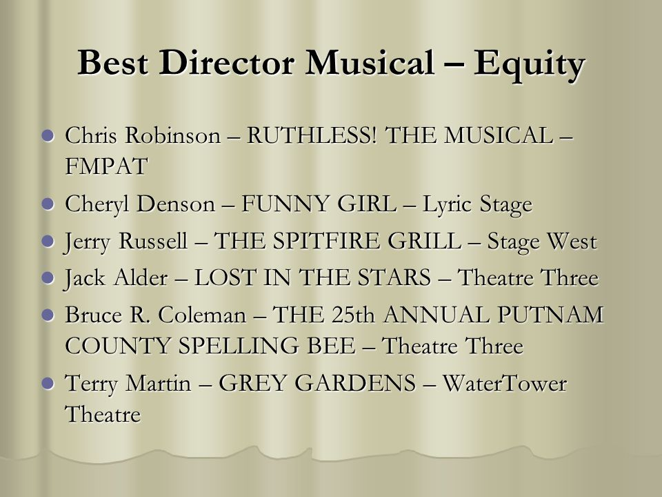 Best Director Musical – Equity Chris Robinson – RUTHLESS.