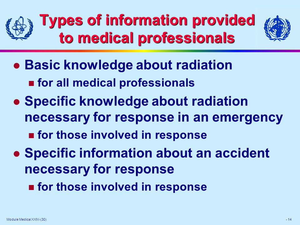 Module Medical XXIV-(30) - 14 Types of information provided to medical professionals l Basic knowledge about radiation for all medical professionals l Specific knowledge about radiation necessary for response in an emergency for those involved in response l Specific information about an accident necessary for response for those involved in response