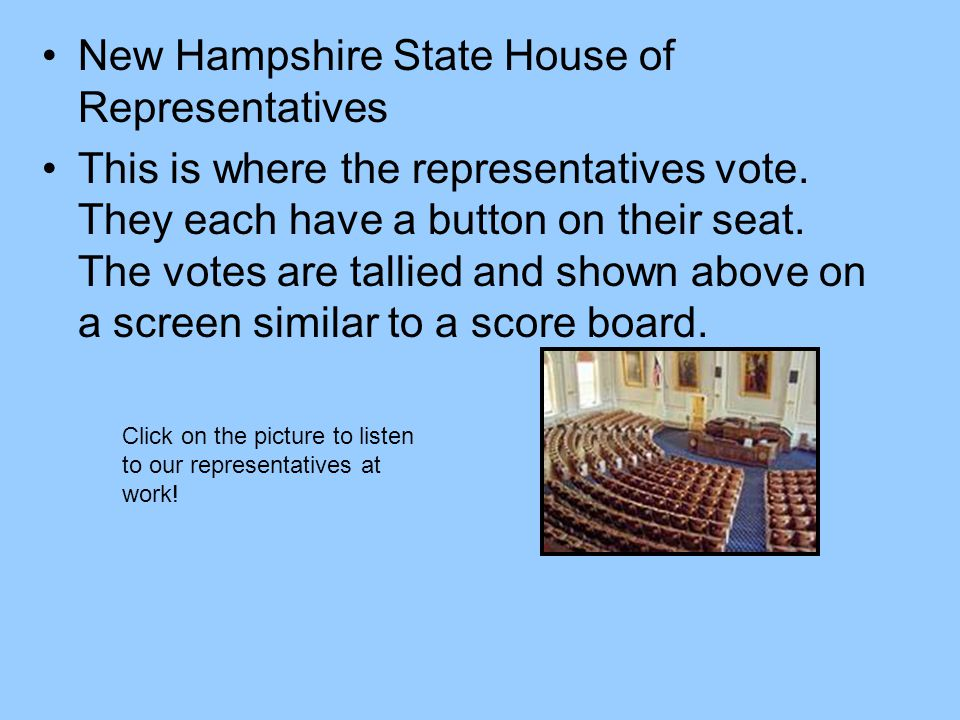 New Hampshire State House of Representatives This is where the representatives vote. They each have a button on their seat. The votes are tallied and